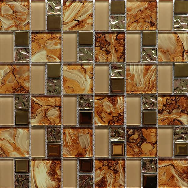 China Ralart 8mm Electroplated Glossy Brown Crystal Mosaic Tile for Backsplash Decoration