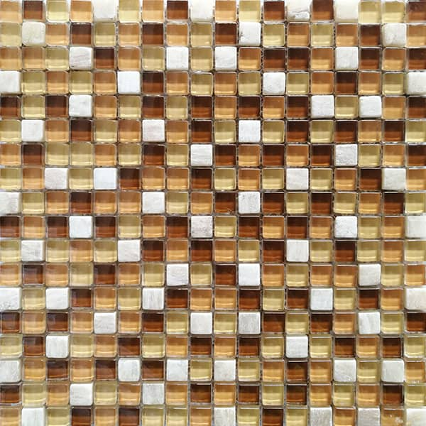China 15x15mm Brown Color Glass Mix Stone Mosaic Tile for Interior Backsplash Decoration