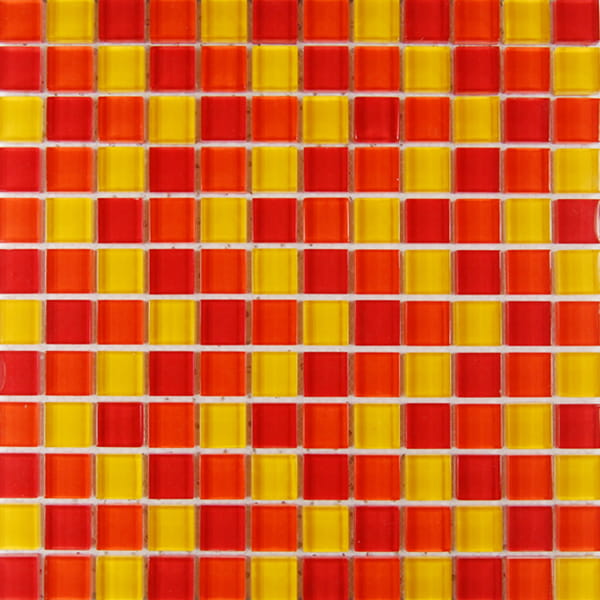 China 23*23mm Red and Yellow Mixed Crystal Mosaic tile for Bathroom and Swimming Pool