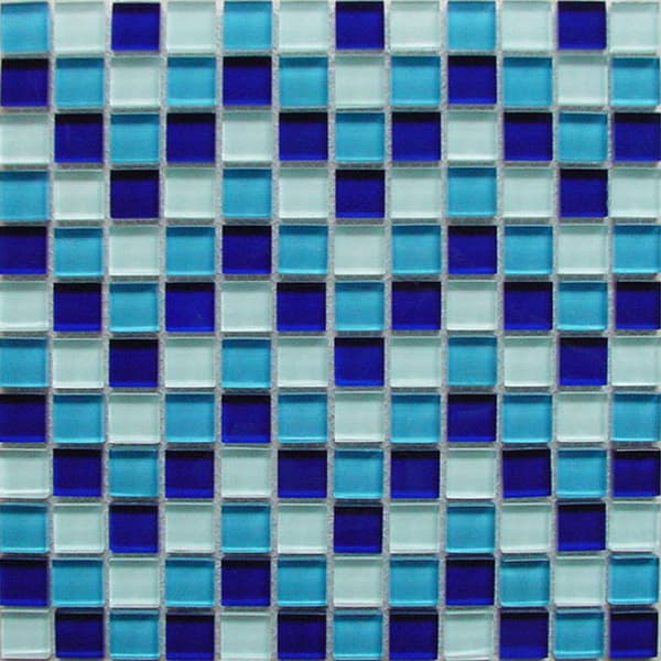 China Glossy 23*23mm Blue and White mixed Crystal Mosaic Tile for Swimming Pool