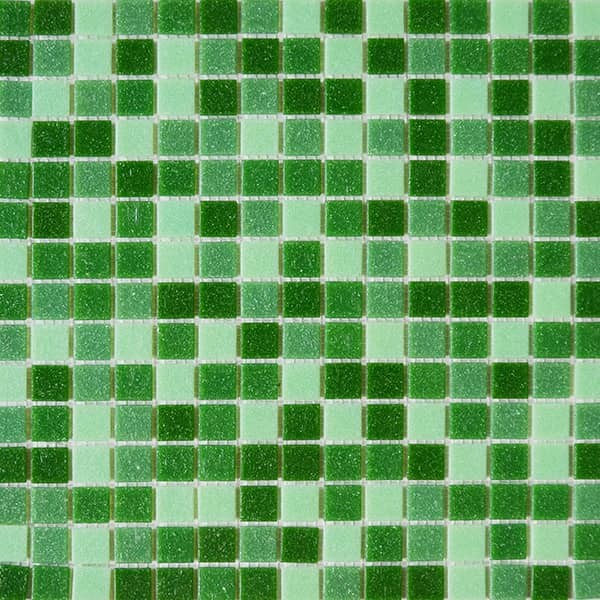 Light and Dark Green Mixed 20x20mm Glass Tile for Pools