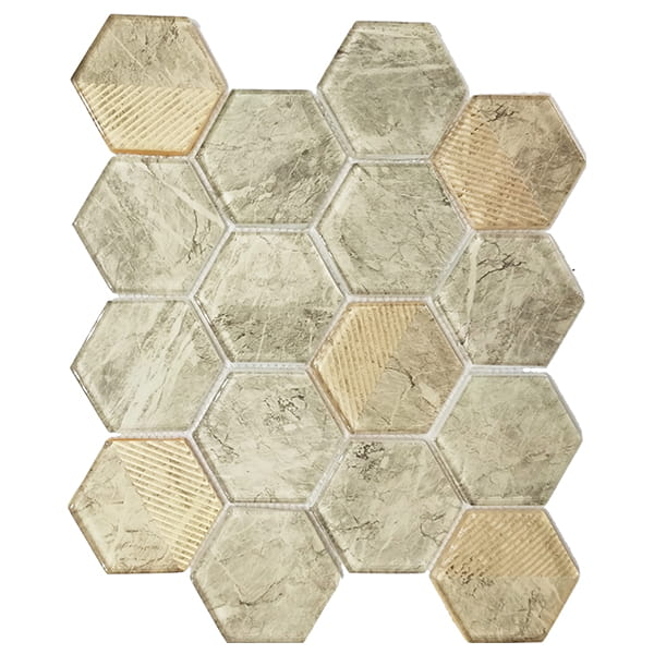 Foshan Ralart Mosaic Glossy Beige 73x82mm Mesh Mounted Hexagon Glass Tile
