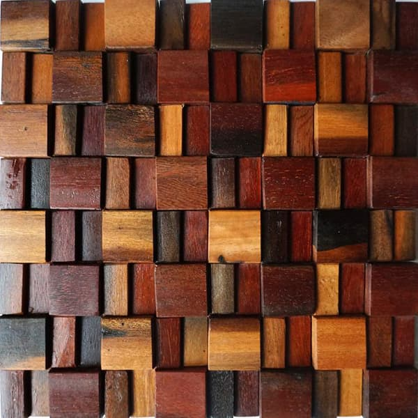 China Popular Natural Solid Wood Mosaic Tile for Interior Backsplash Decoration